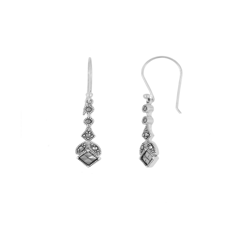 4495f5e5b n/a Sterling Silver Marcasite Drop Earrings | Walmart Canada
