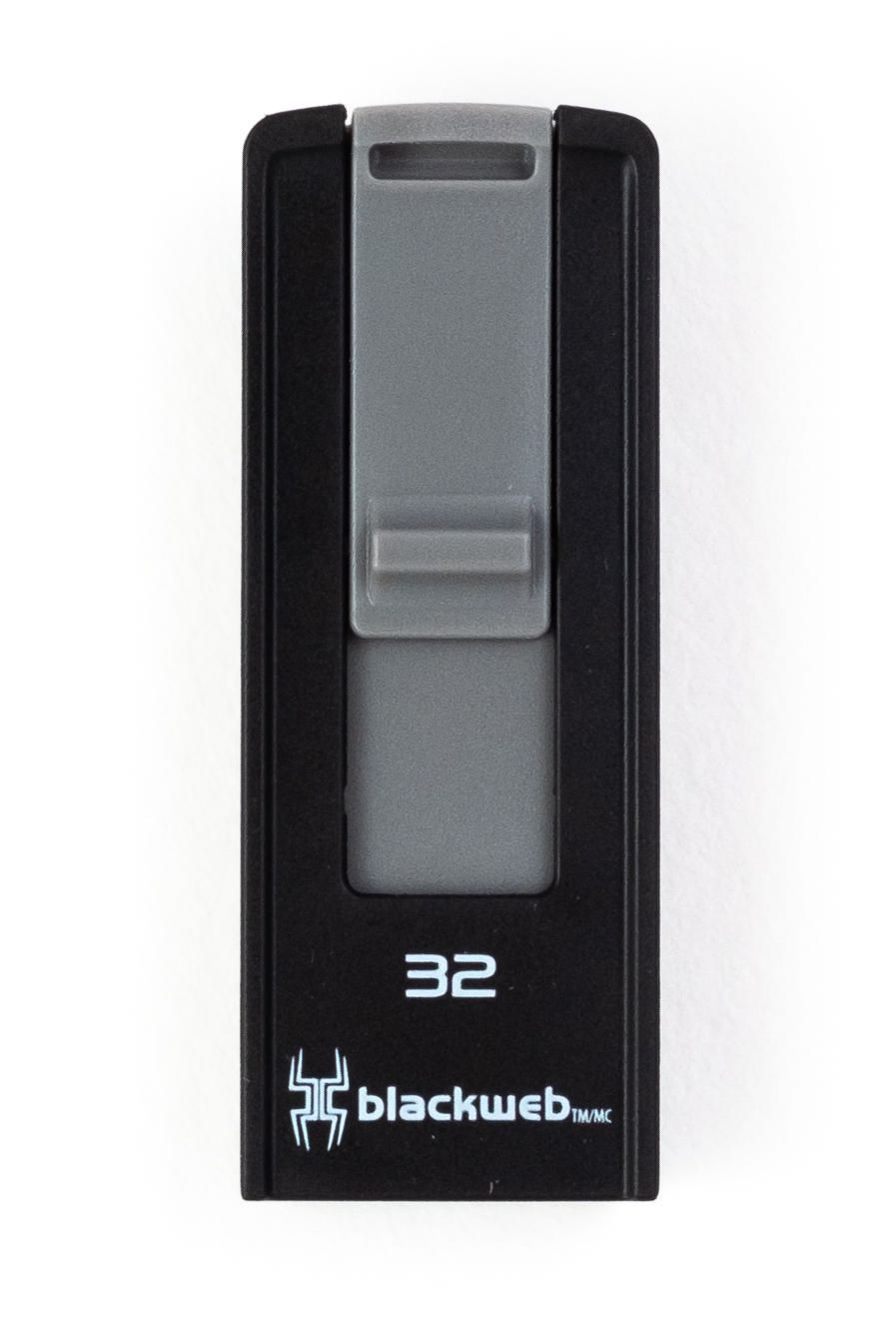 Black USB 3.0 drive with grey slider, made by blackweb