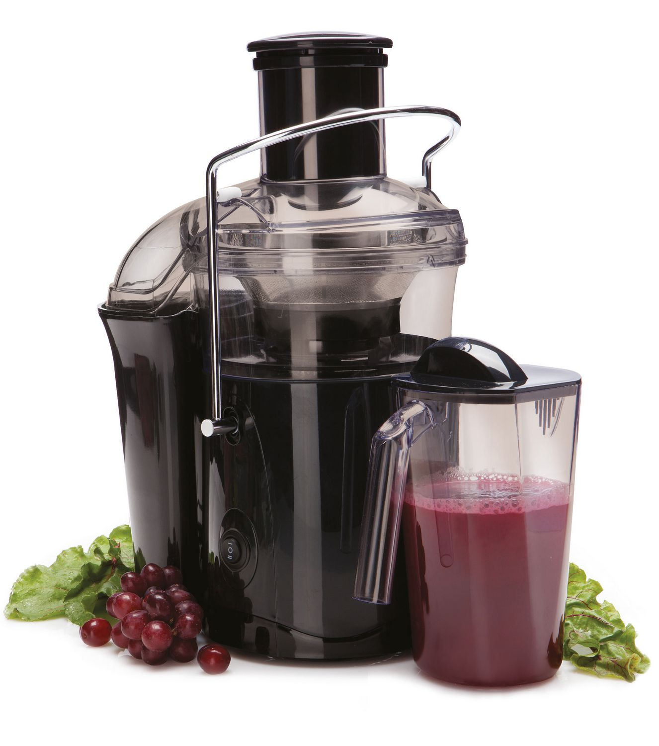 Black and clear plastic Jack LaLanne juice extractor juicer with purple-red juice in container and lettuce and red grapes at the base of the machine - best inexpensive juicer