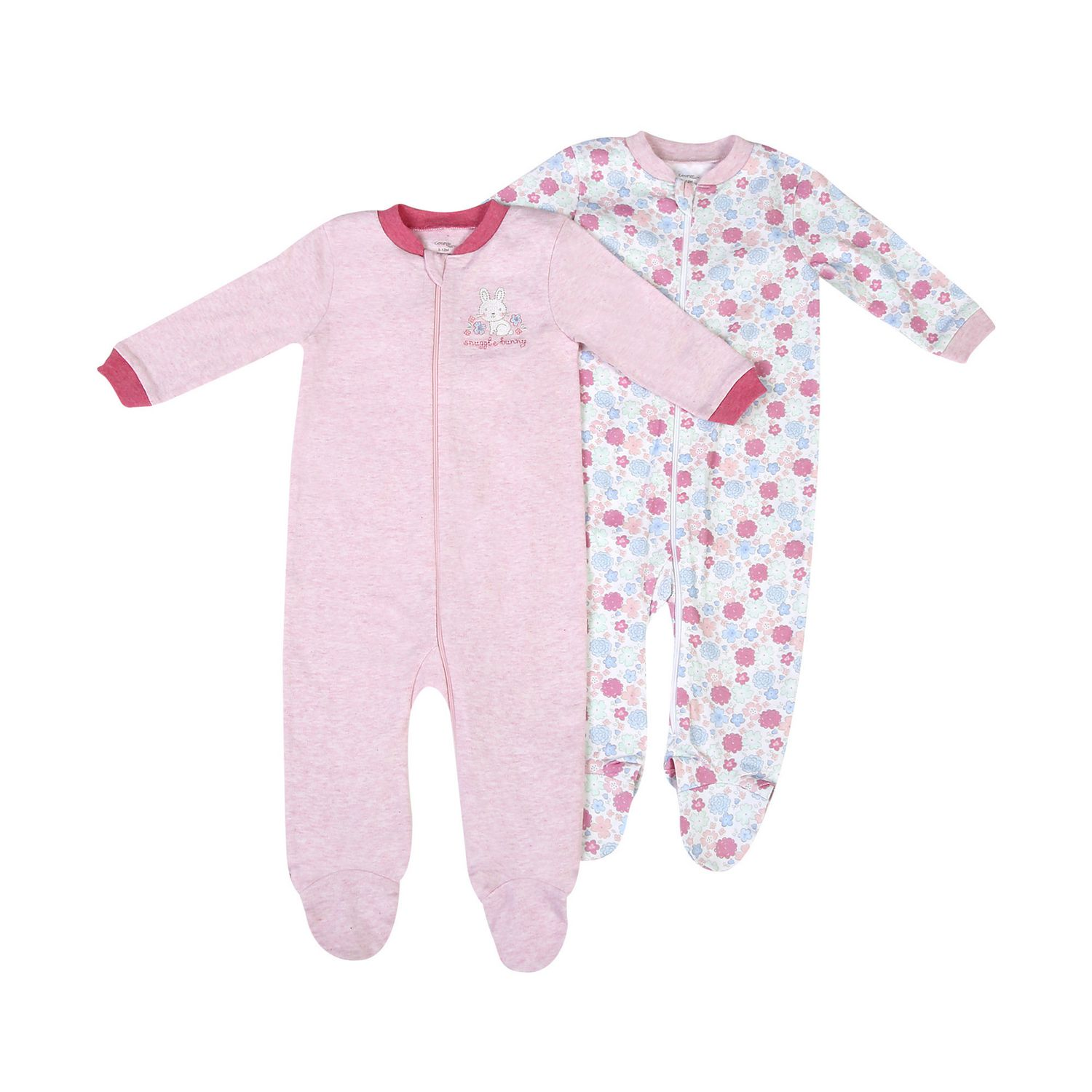 George baby Girls Cotton Sleepers 2 Pack