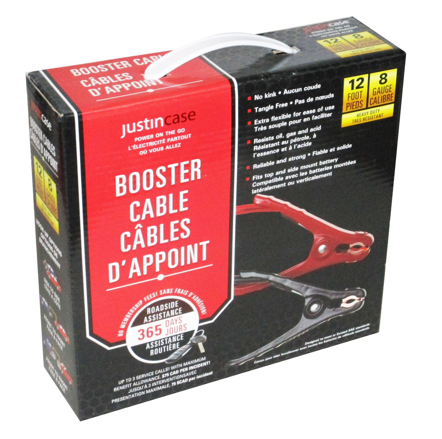 Justin Case 8 Gauge 12 Feet Jumper Cables with 365 days of Roadside Assistance Heavy Duty Car Emergency Booster Cables SAE