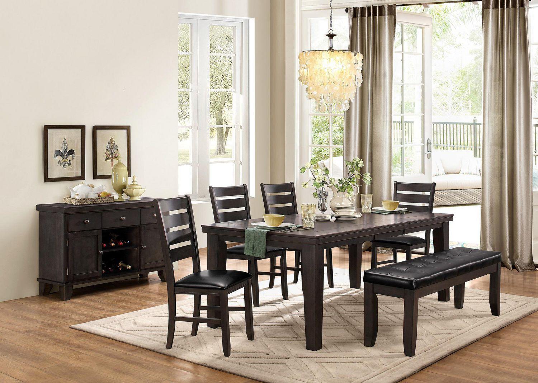 Topline Home Furnishings Table De Salle A Manger Gris Fonce Avec