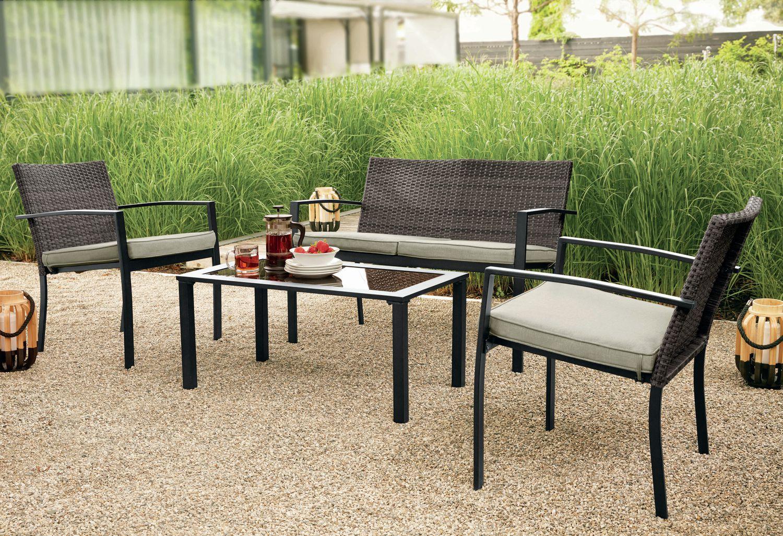 Salon de jardin en osier de mainstays, 4-pièces | Walmart Canada