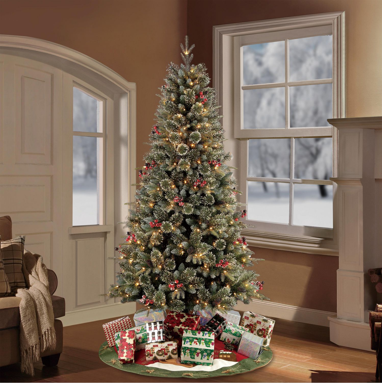Holiday Time Artificial Christmas Tree 7 Ft Pre Lit Frost Decorative Pine Tree Walmart Canada
