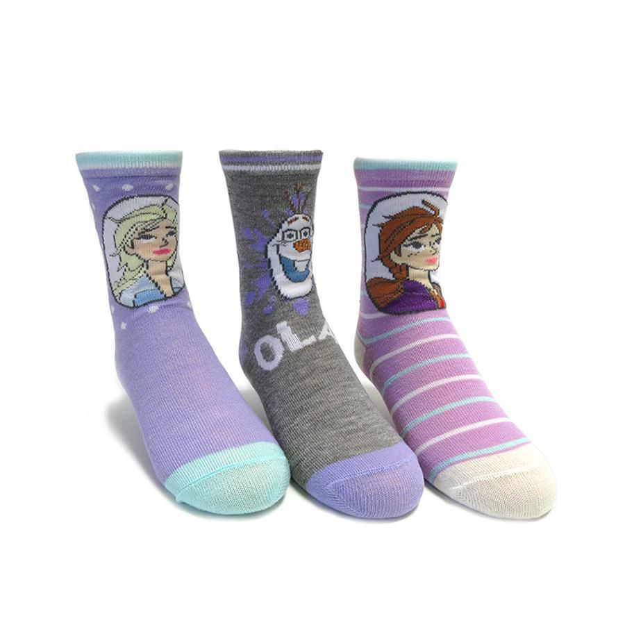 Pack of 3 3 sizes Girls Frozen cotton rich ankle socks