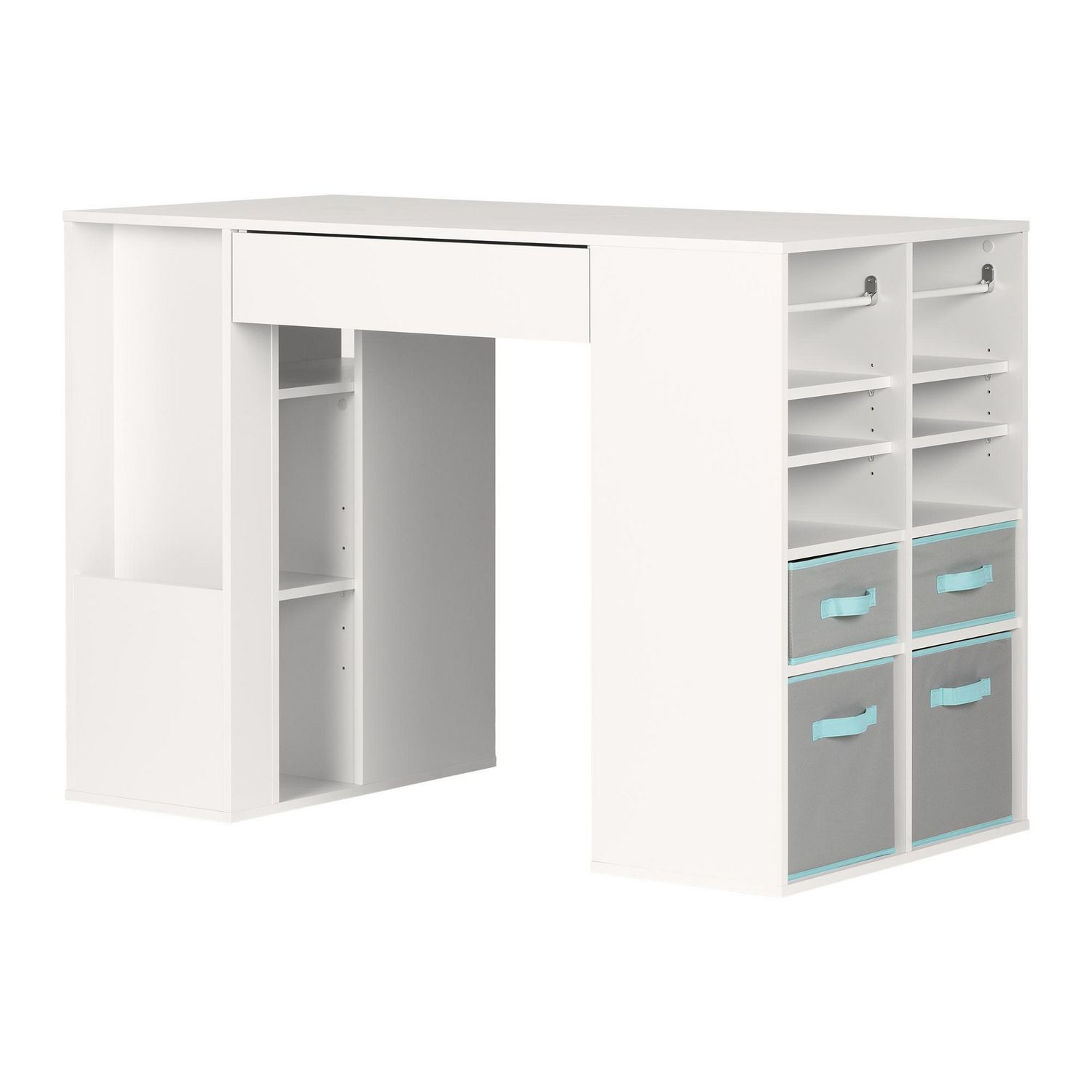 Beautiful South Shore Crea Counter Height Craft Table With Storage, Pure White |  Walmart Canada