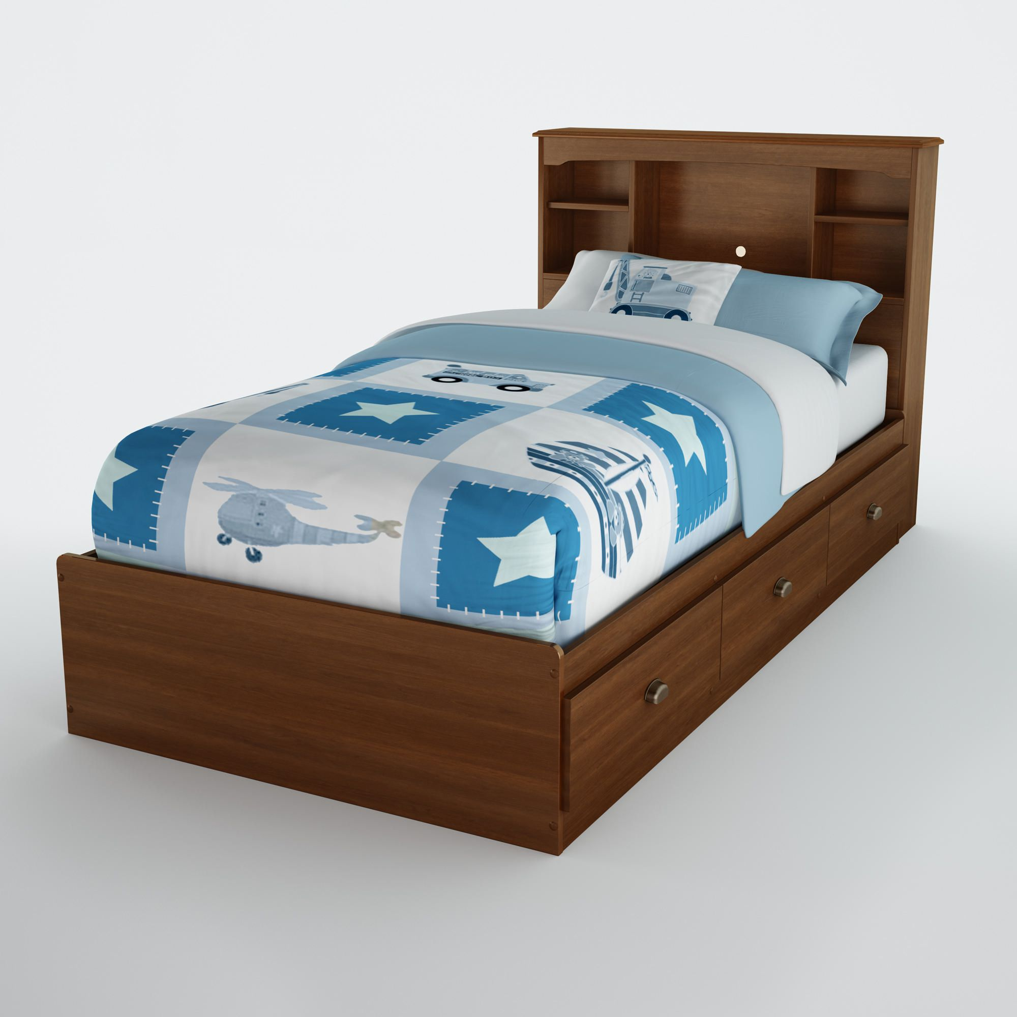 chocolate beds south bookcases twin kids p logik size shore in headboard headboards bookcase bed