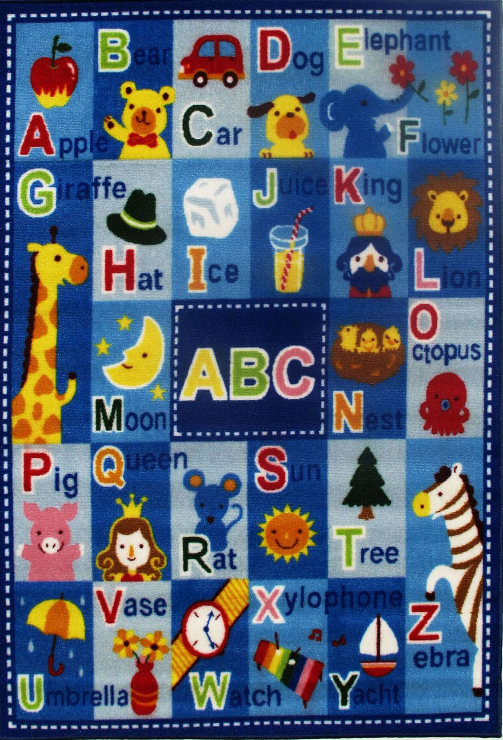 Fun Rugs Rectangle Multi-Colored Letters and Names Nylon Kids Rug
