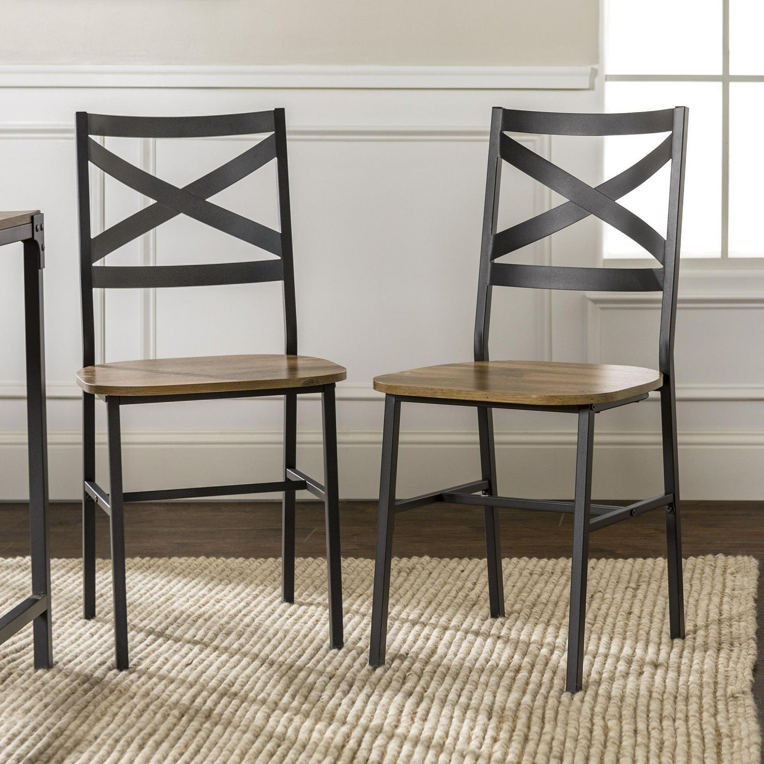 Manor Park Modern Industrial Farmhouse Dining Chairs Set Of 2 Multiple Finishes Walmart Canada
