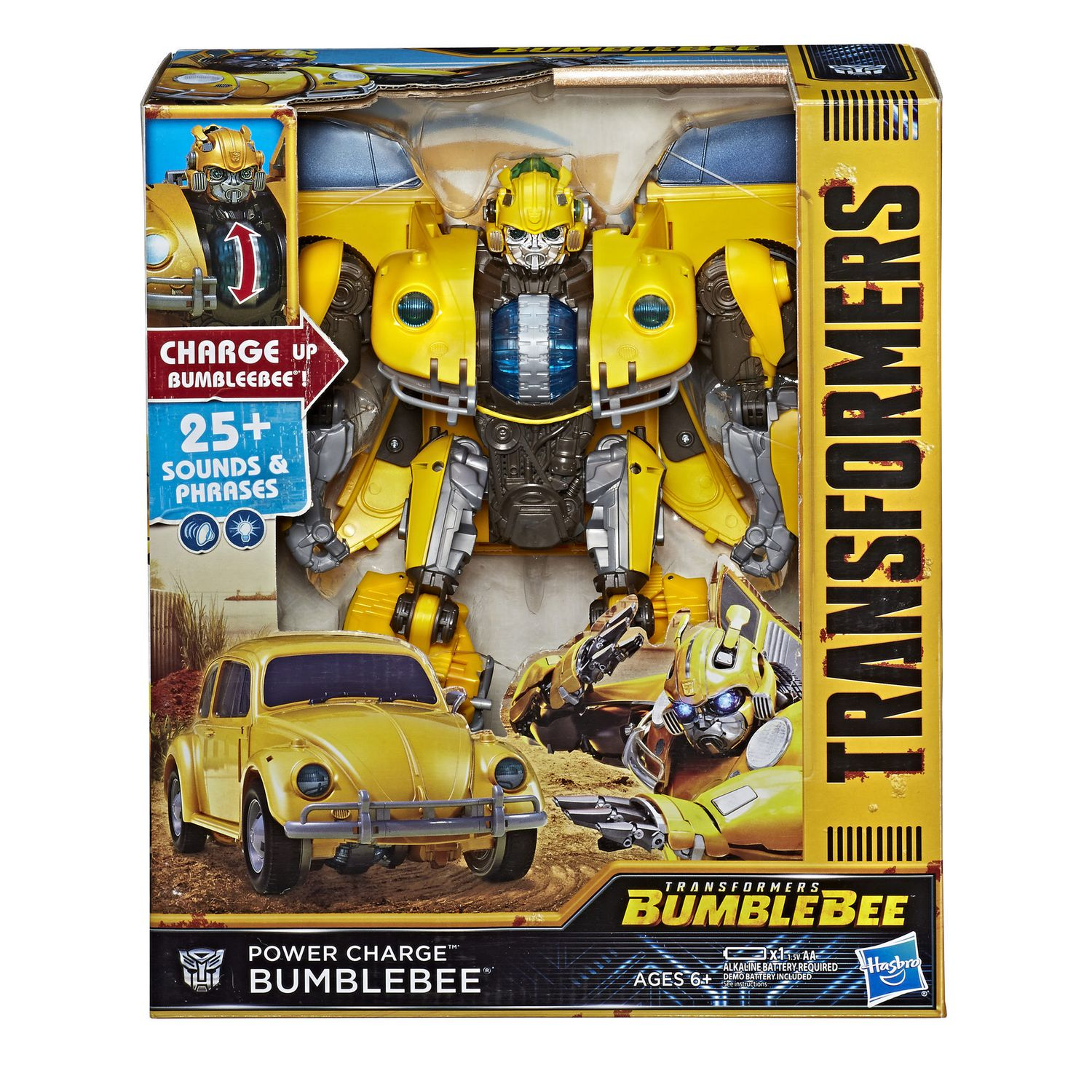 transformers bumblebee movie toys, power charge bumblebee action figure spinning core, lights and sounds toys for kids 6 and up, 10 5 inchBumblebee #16