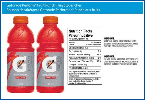 Gatorade Nutrition Facts Zero