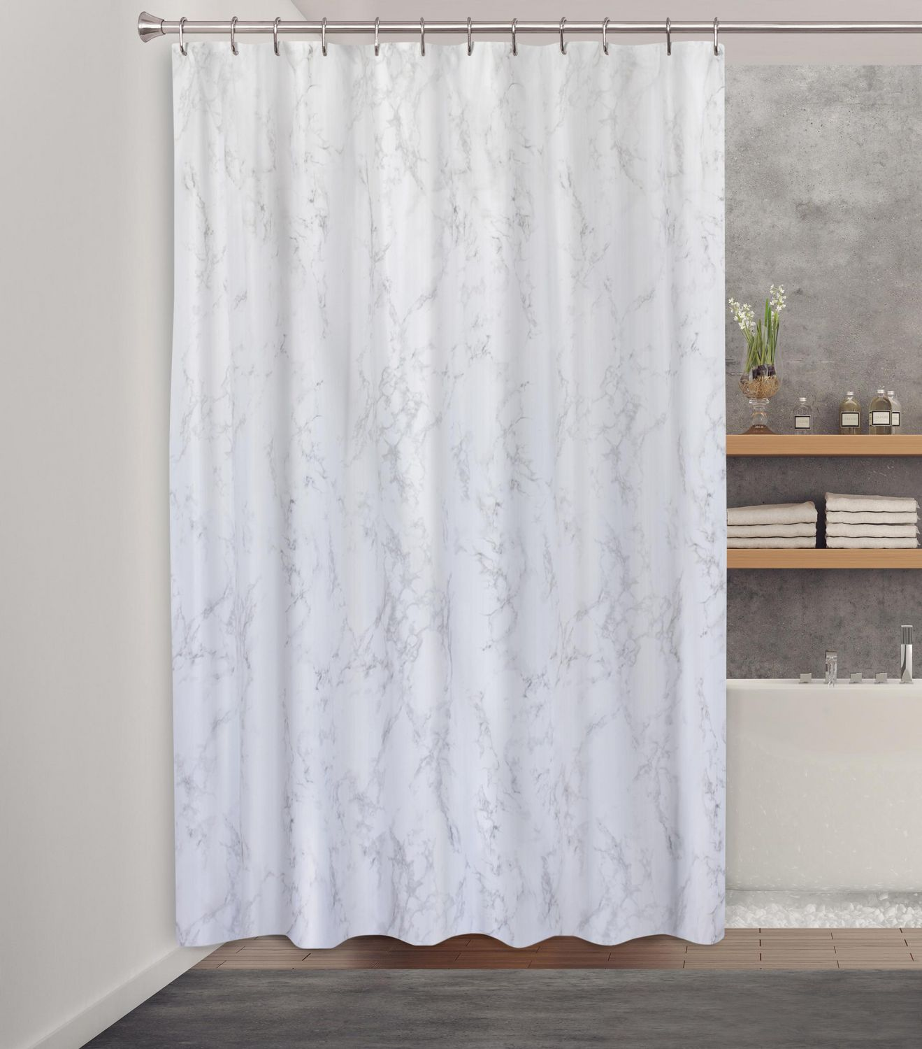 Splash Home Marble Polyester Fabric Shower Curtain 70 X 72 Grey