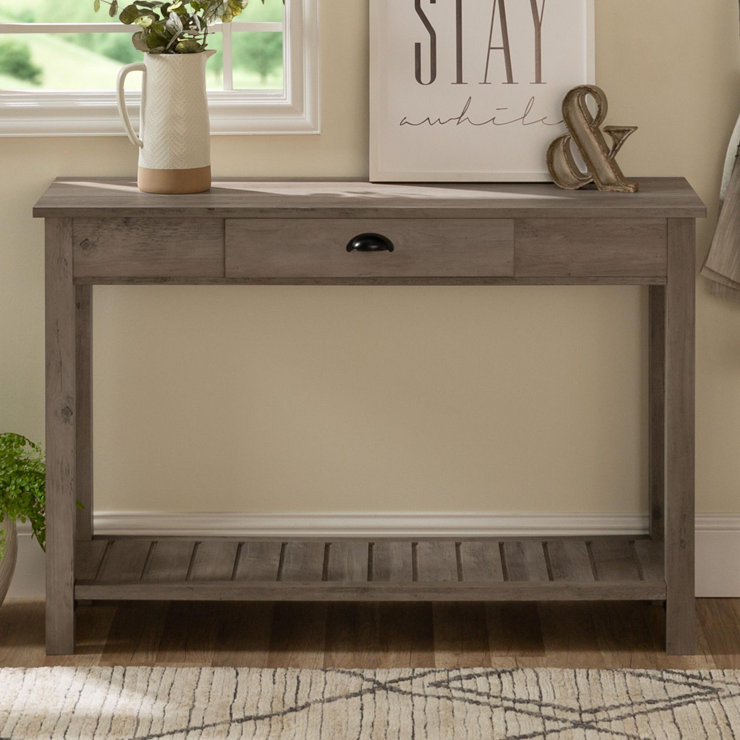 Manor Park Rustic Farmhouse Entryway Table With Storage