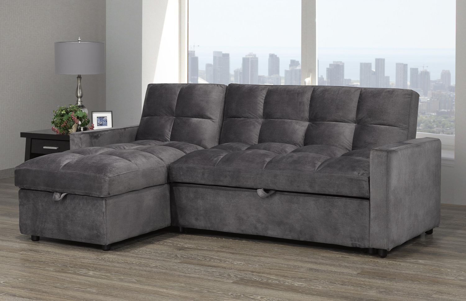 Picture of: Jayden Sectional With Pull Out Bed Storage Chaise Walmart Canada