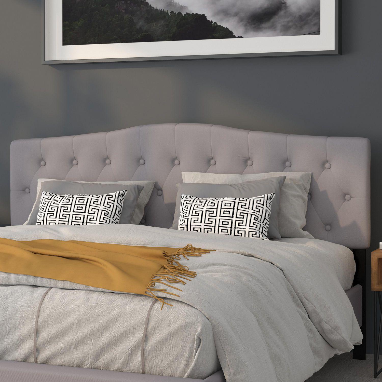 Cambridge Tufted Upholstered King Size Headboard In Light Gray Fabric Walmart Canada