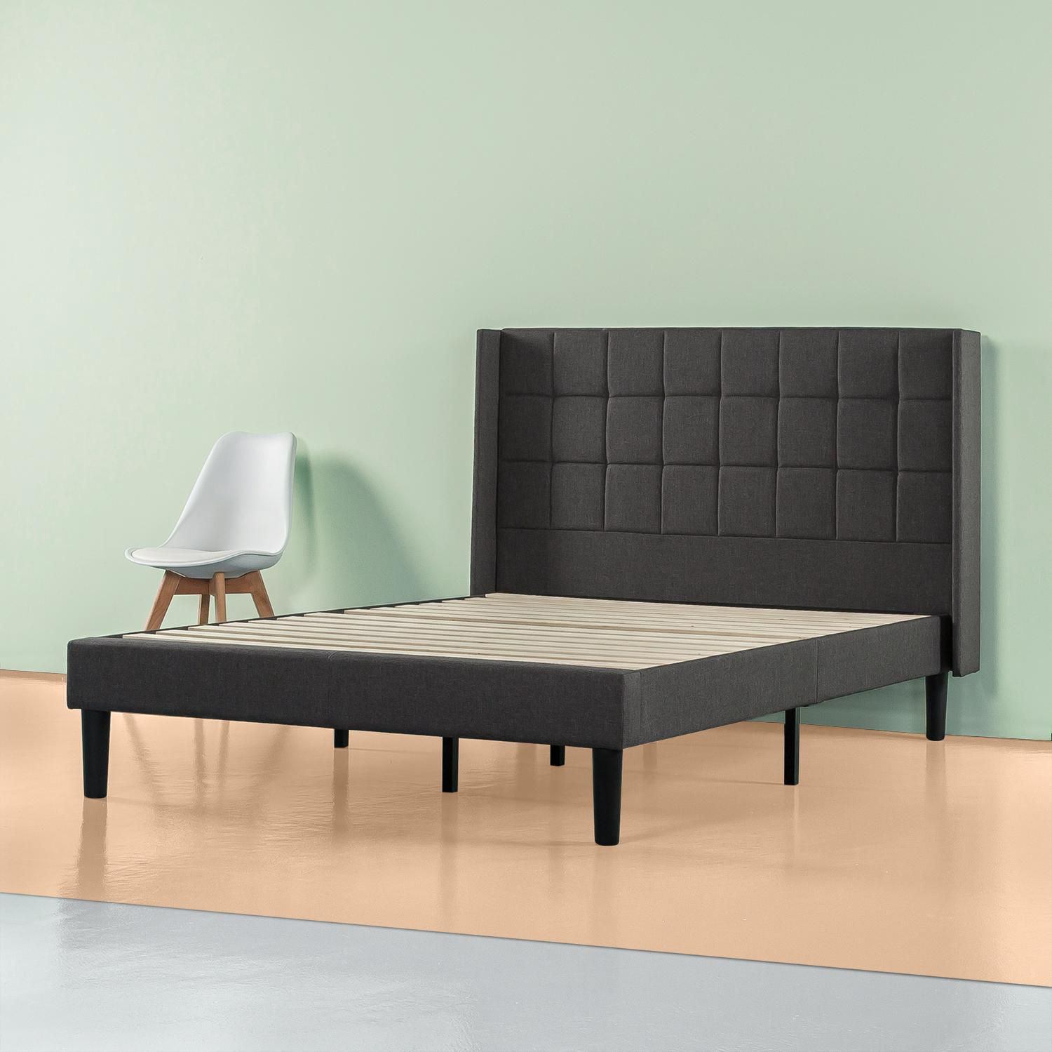 Grey Upholstered Bed Frame with Square Stitched Headboard Dark Grey, Queen