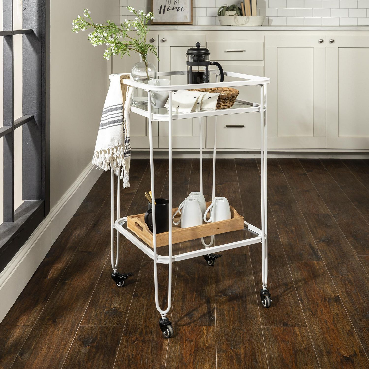 Manor Park Square Metal Bar Cart And Storage Cart With Wheels Multiple Finishes Walmart Canada