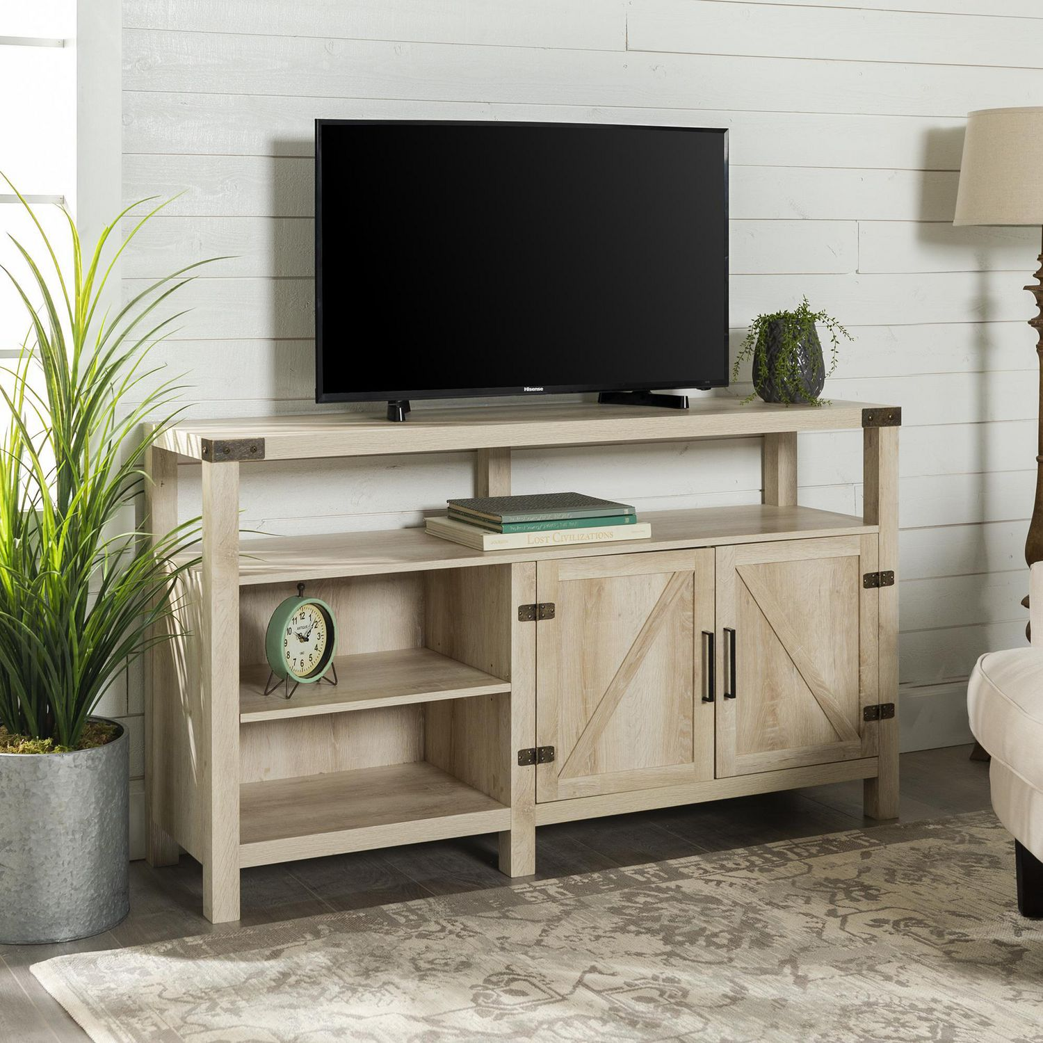 Manor Park Tall Modern Farmhouse Barn Door Tv Stand For Tv S Up To 64 Multiple Finishes