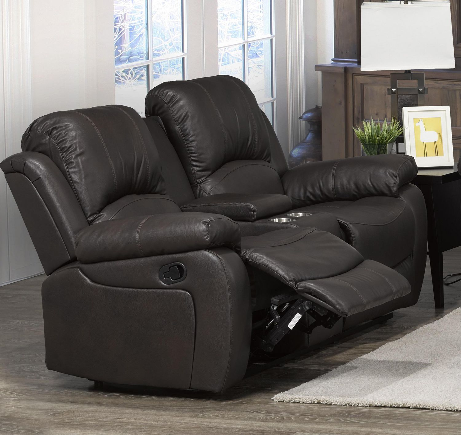 Picture of: Boris Recliner Love Seat With Storage Console Brown Walmart Canada