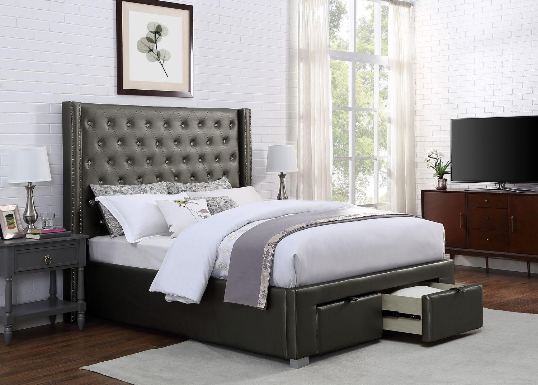 brassex inc luxor king platform bed wstorage grey