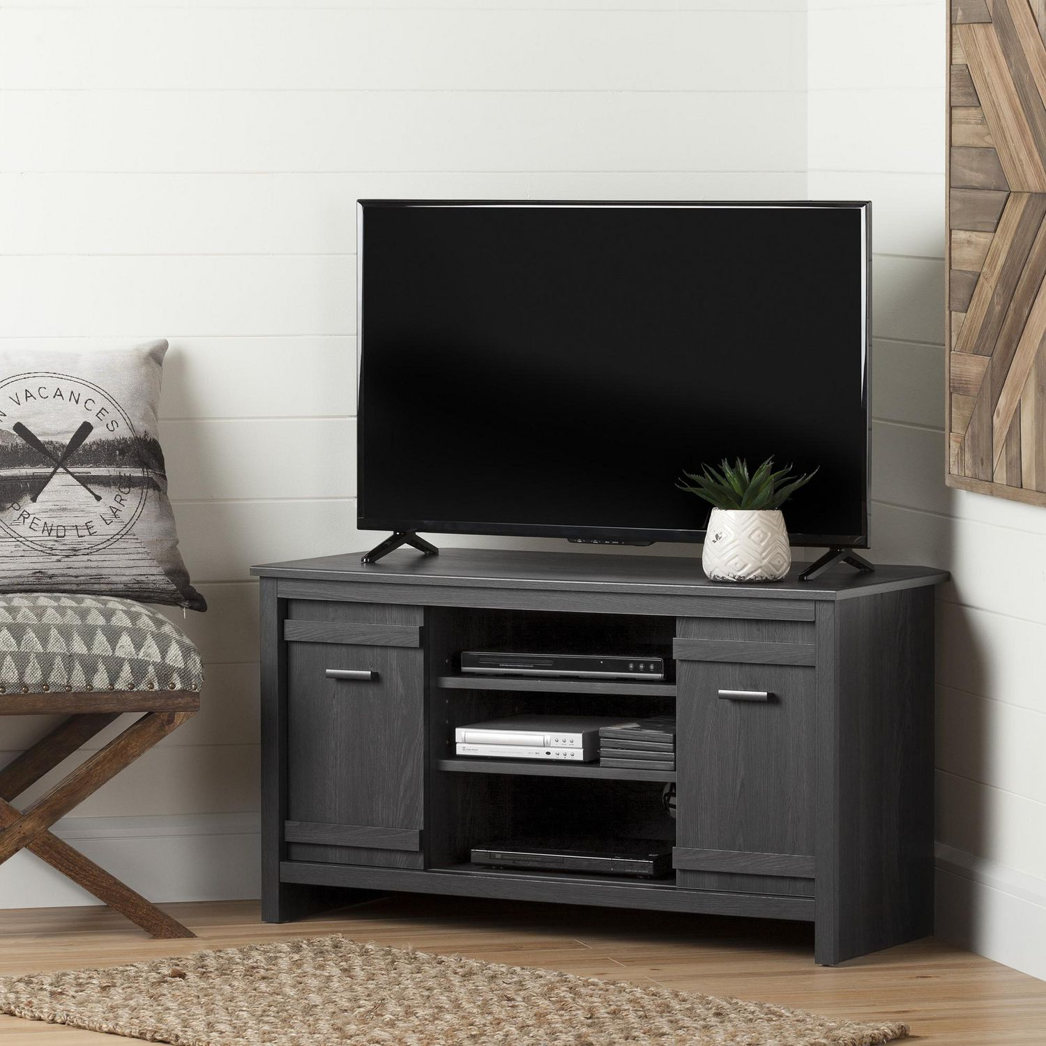 South Shore Exhibit Corner Tv Stand For Tvs Up To 42 Gray Oak  # Meuble De Coin Tv
