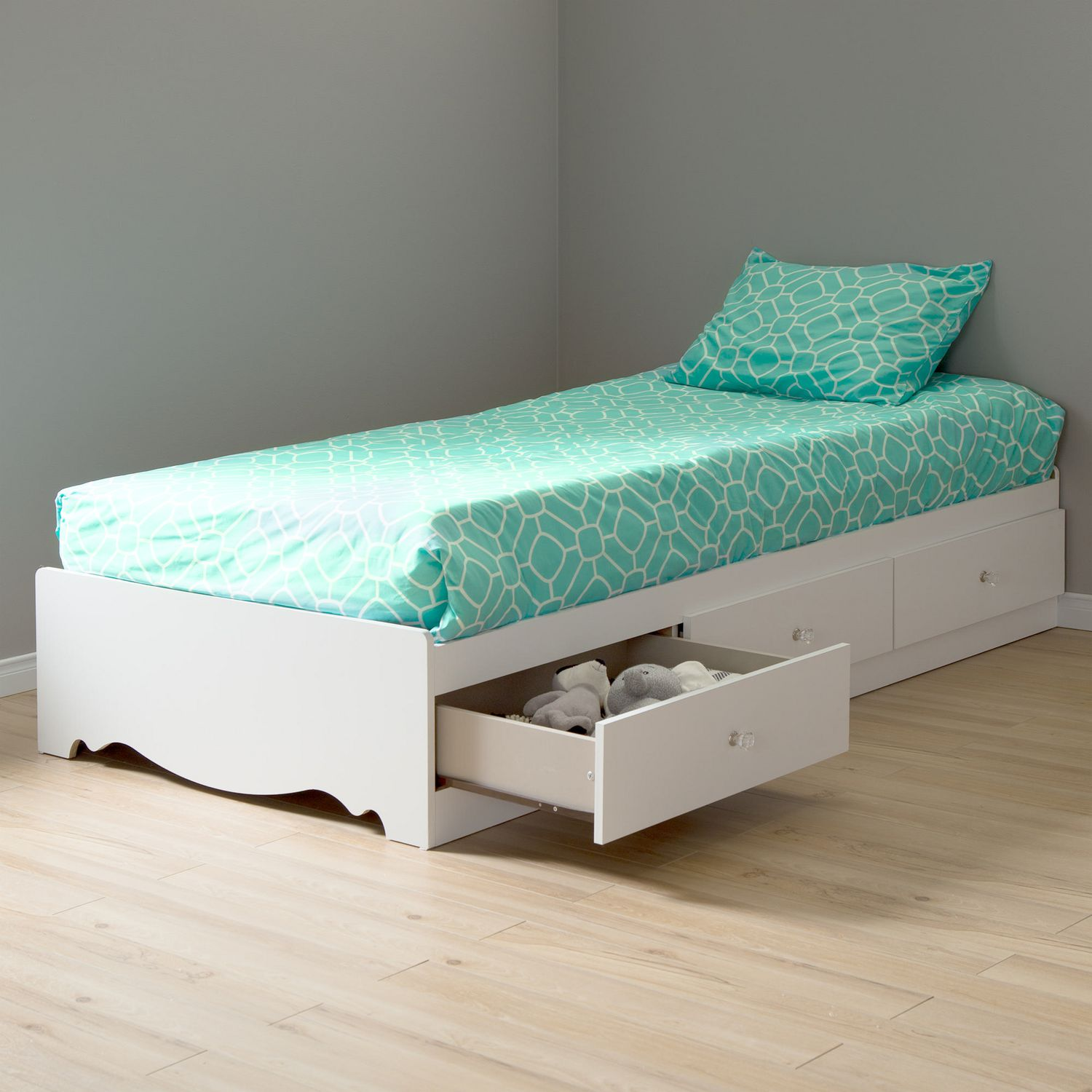 South Shore Crystal Twin Storage Bed 39 In With 3 Drawers White Walmart Canada