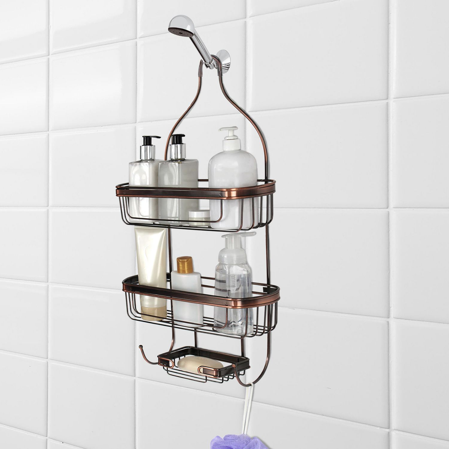 Splash Home Shower Caddy Storage Shelves For Shampoo Conditioner And Soap Oil Rubbed Bronze