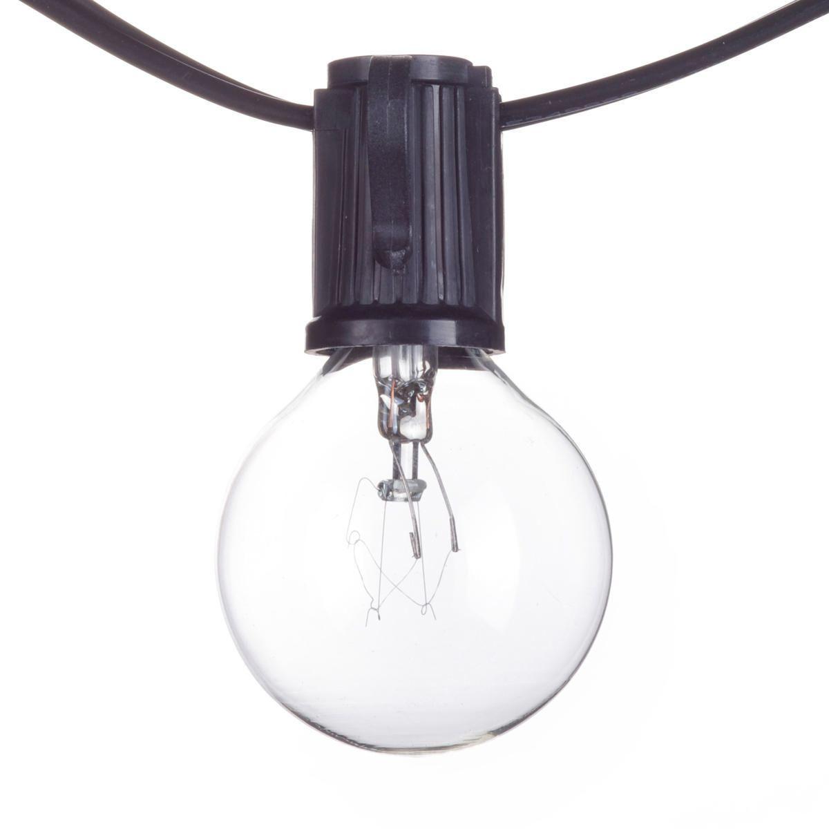 Monaco 25ft Indoor Outdoor Plug In String Light Black Cord M F Plugs Bulbs Included Walmart Canada