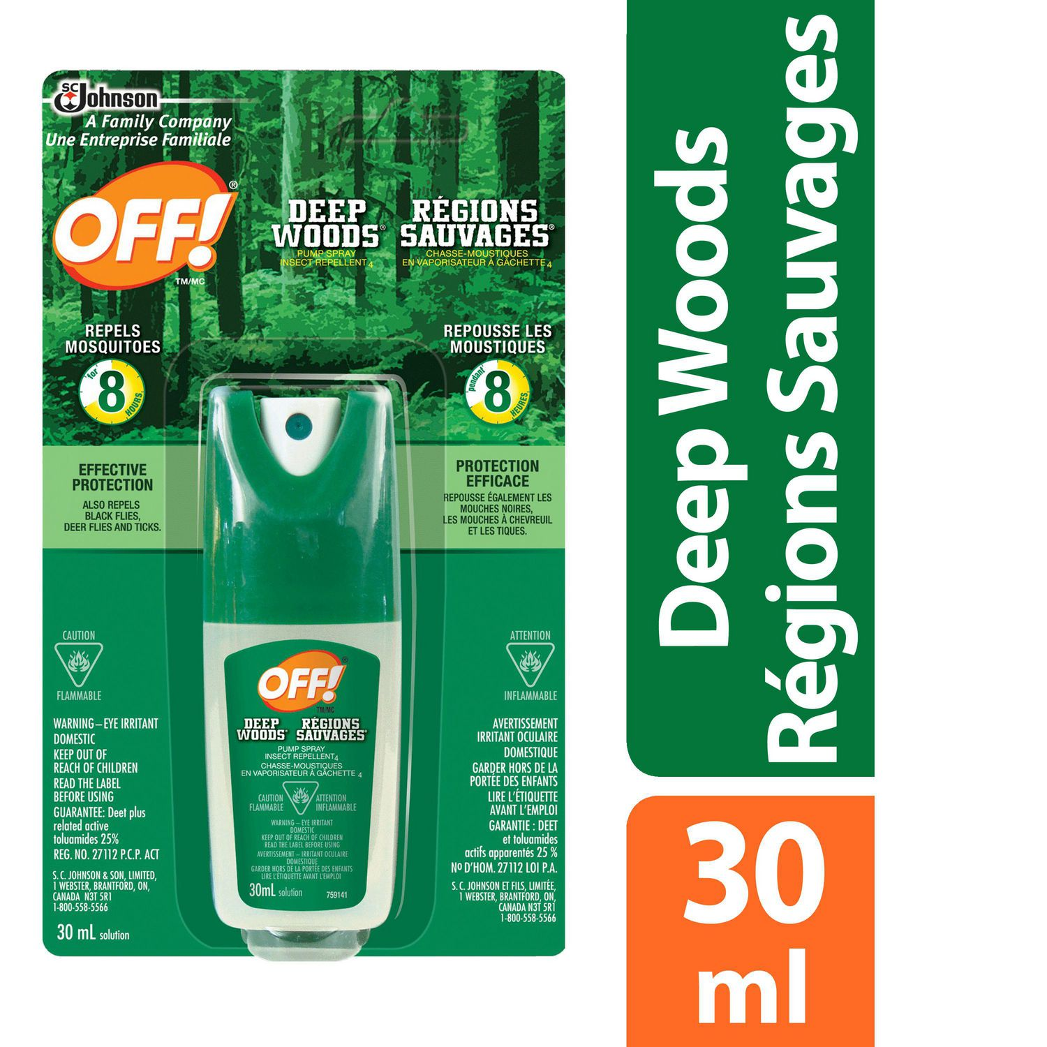 Off Deep Woods Mosquito Insect Repellent Pump Spray 30ml Walmart Canada