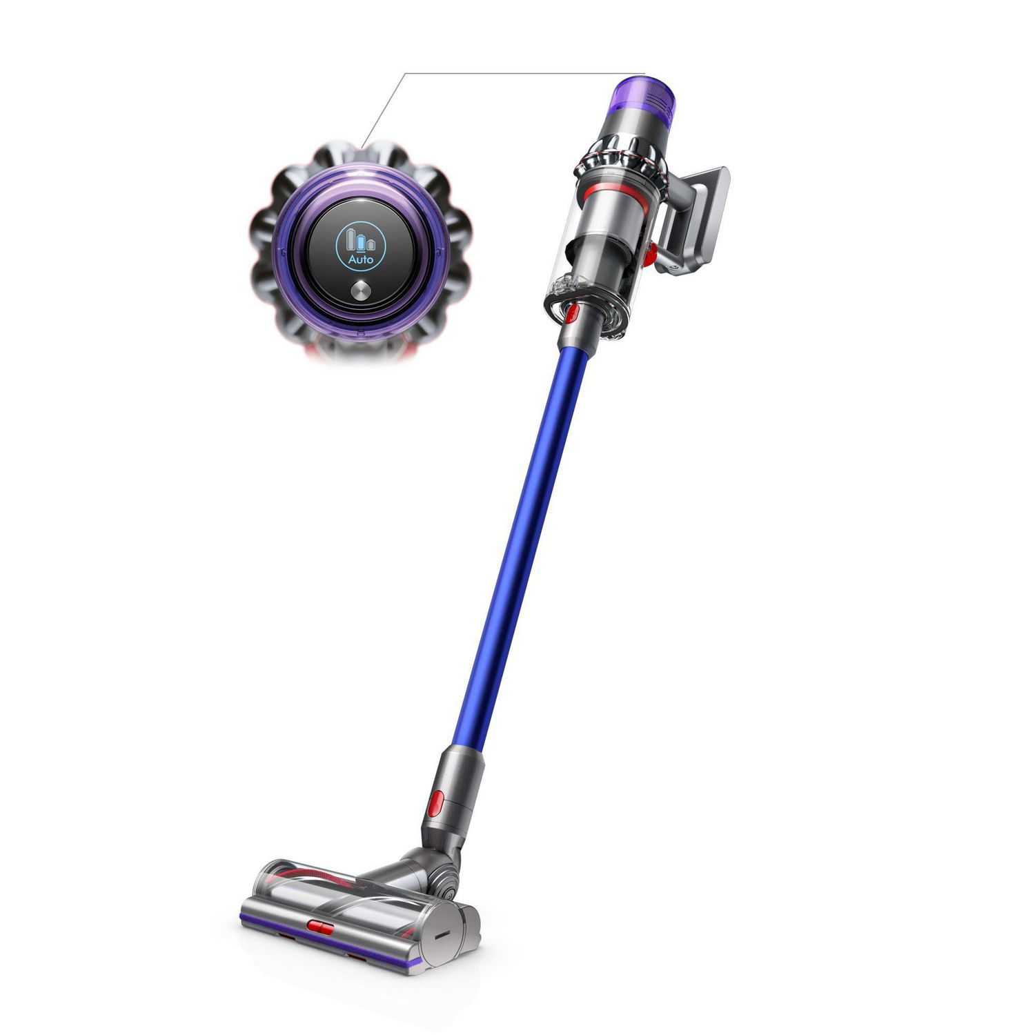 Blue and silver upright Dyson V11 Absolute cordless hardwood floor vacuum cleaner - best vacuum for hardwood floors