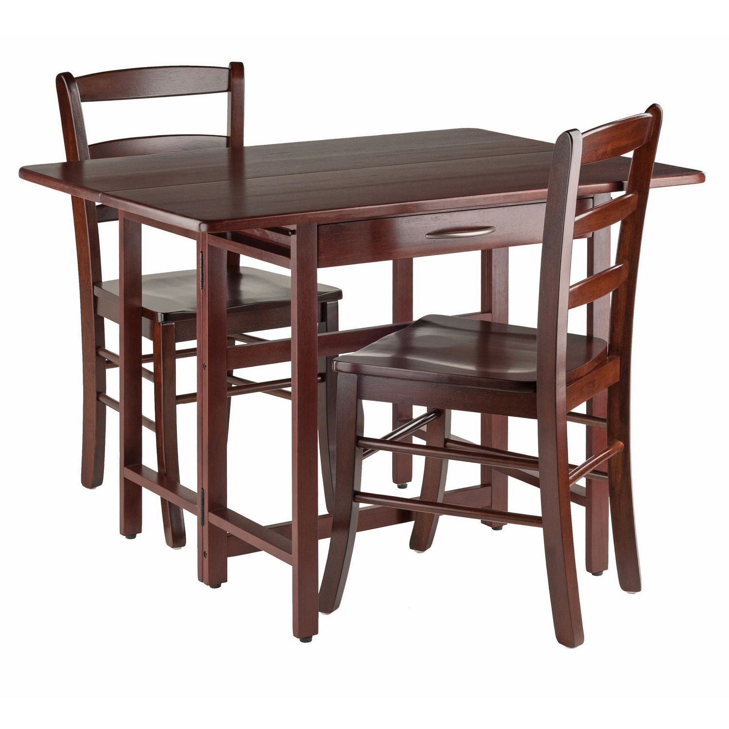Winsome Taylor 3 Piece Set Drop Leaf Table With Ladder Back Chair
