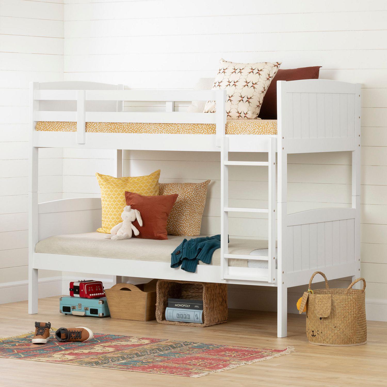 Lit Superposé 3 Étages savannah lits superposés simple en bois massif, blanc de meubles south shore