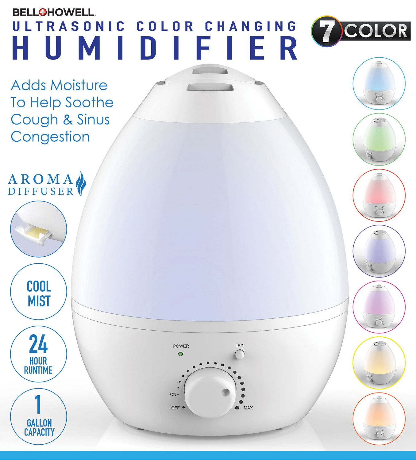 Bellhowell Ultrasonic Color Changing Humidifier Walmart Canada