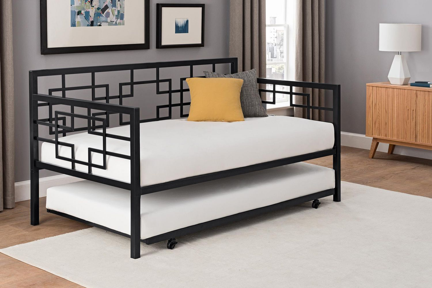 DHP Twin Daybed With Trundle, Black Metal