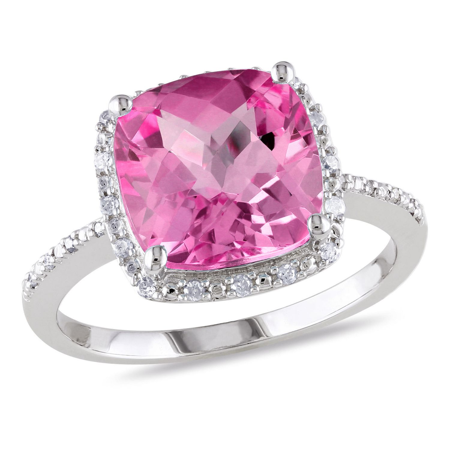 Tangelo 5.75 Carat T.G.W. Created Pink Sapphire and Diamond-Accent ...