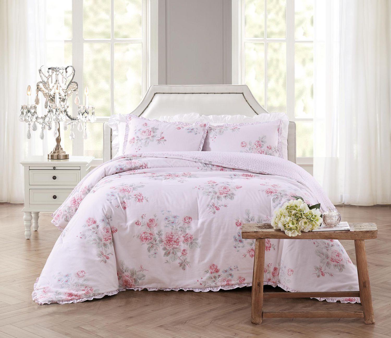 Bling Literie Roses romantiques Couvre-lit-Ensemble de Couvre-lit matelass/é Vibrant color/é Rose Vif au Printemps printanier Vibrant 3 pi/èces