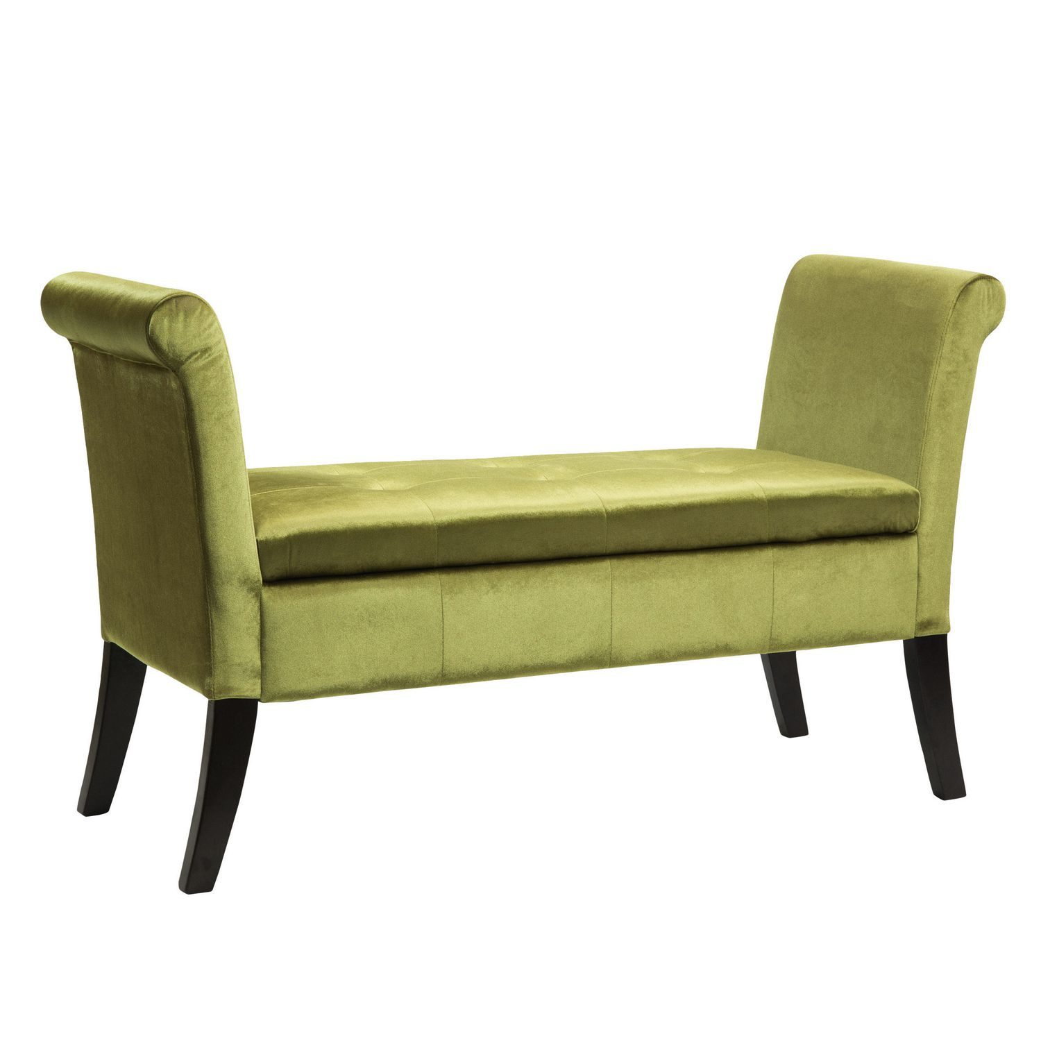 Corliving Antonio Green Velvet Storage Bench With Scrolled Arms Walmart Canada