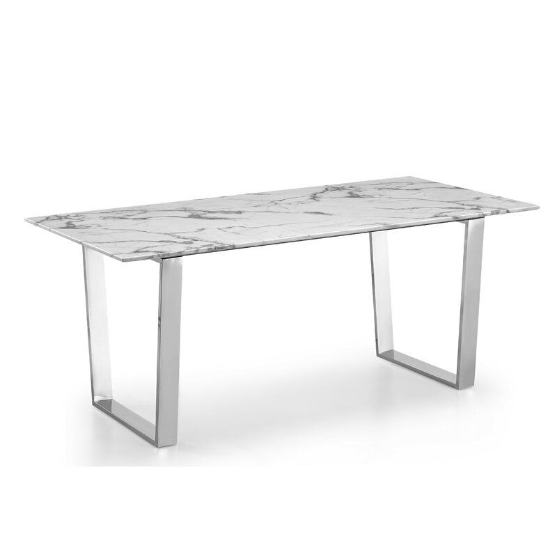 Marble Dining Table Rectangle 63 In Chrome Walmart Canada
