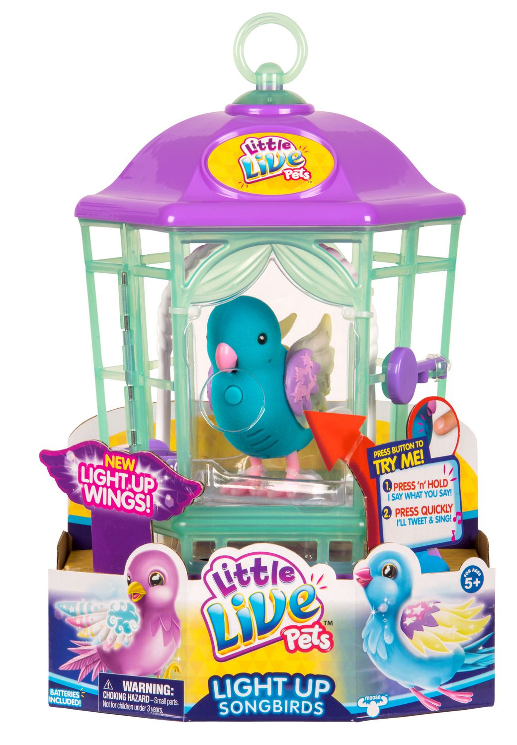 Purple and green plastic cage with blue toy bird inside, made by Little Live Pets