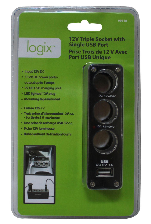Logix 12 v triple socket with single usb port walmart canada publicscrutiny Choice Image