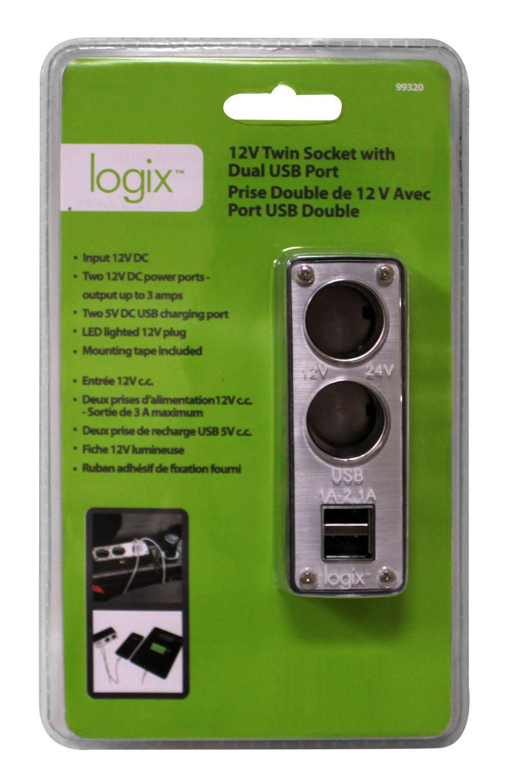 Logix 12 v twin socket with dual usb port walmart canada publicscrutiny Choice Image
