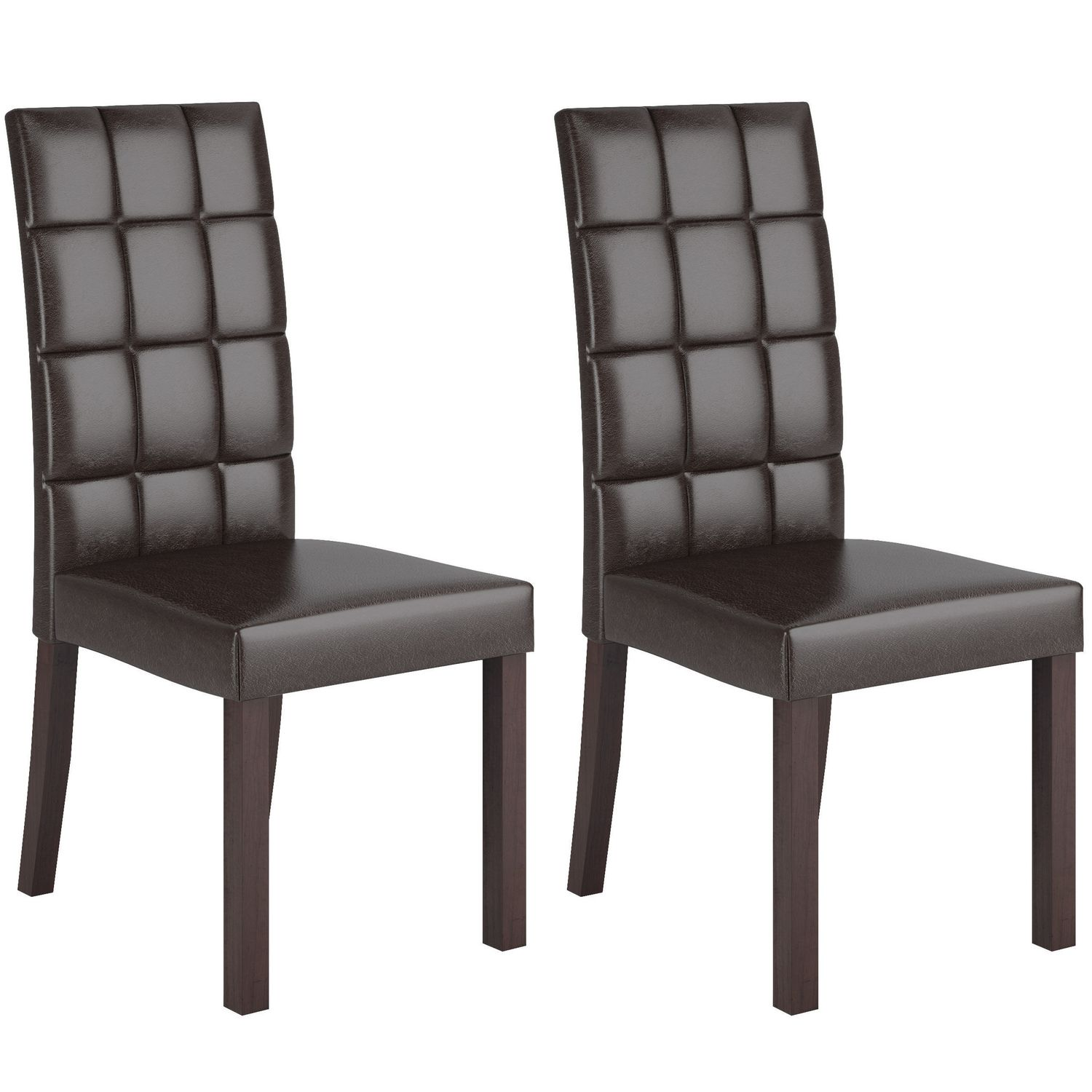 CorLiving Atwood Dark Brown Leatherette Dining Chairs Walmartca