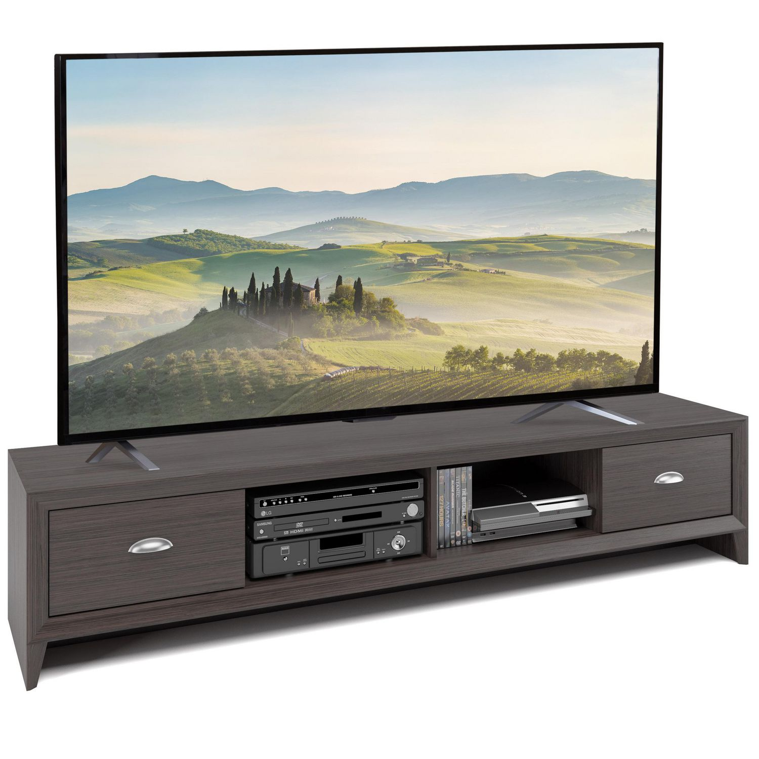 hot sales c5b32 b5ce3 CorLiving Lakewood Extra Wide TV Bench in Modern Wenge Finish