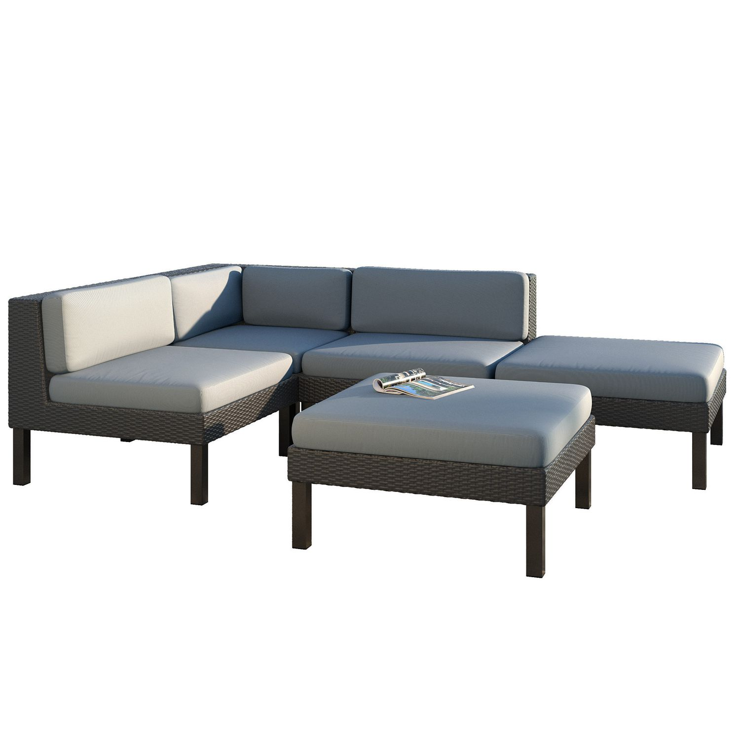 CorLiving PPO 801 Z Oakland Sectional with Chaise Lounge Patio Set