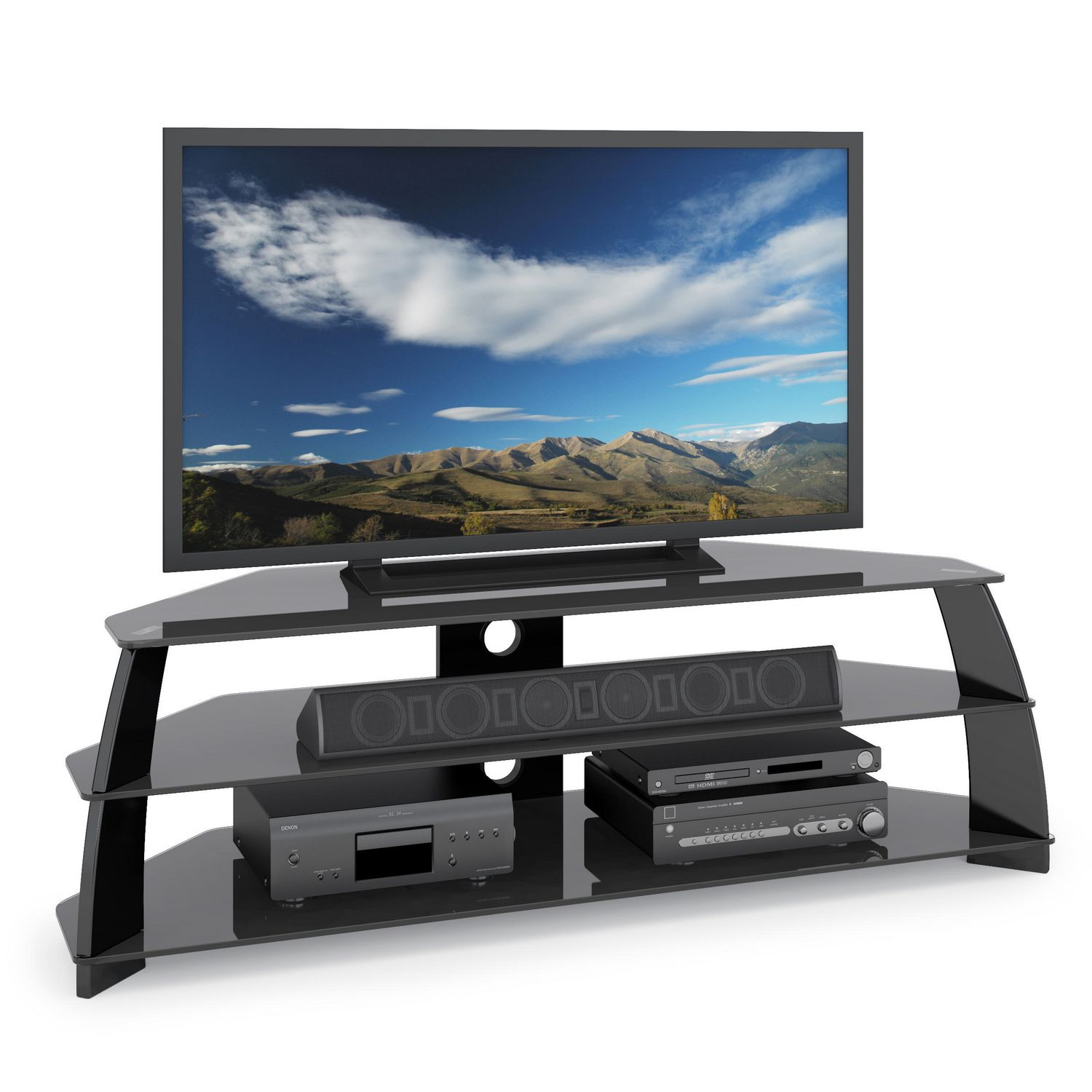 corliving tap609t taylor extra wide glossy black tv stand with glass shelves walmart canada