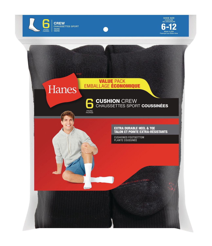 Hanes New Mutli Pairs Mens Black Sports Athletic Crew Socks Cotton Size 6-12