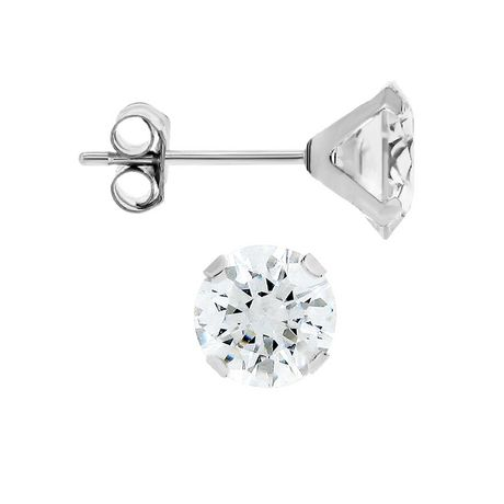 Aurelle- 10KT White Gold Boxed Earrings with 5mm Round Swarovski Cubic  Zirconia  418c0ae257