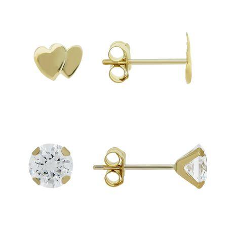 Aurelle-Ensemble de boucles d'oreilles en or jaune 10KT avec zircones cubiques rondes blanches Swarovski 3mm et double cœur - image 1 de 2