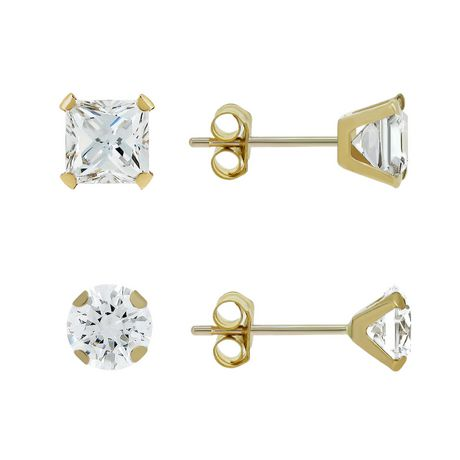 Aurelle- 14KT Yellow Gold Earring set with Swarovski 3MM Round & 3MM Square Cubic Zirconia - image 1 of 2