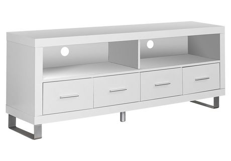 """Monarch Specialties TV Stand With 4 Drawers - White, 60""""L - image 1 of 2"""